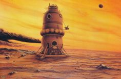 martinlkennedy:  Lomonosov Venus Lander by Mark Maxwell 1986. From the book Visions of Space by David Hardy (1989)