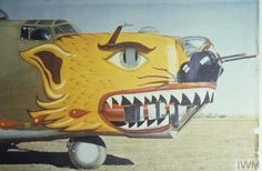 "The shark mouth nose art of a Liberator (serial number nicknamed ""Jungle Pussy"" of the Bomb Group, Air Force. Nose Art, Ww2 Aircraft, Military Aircraft, Luftwaffe, Skyteam Ace, Shark Mouth, Aircraft Painting, Airplane Art, Vintage Airplanes"