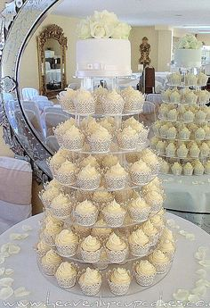 Cupcake tower with small cake round