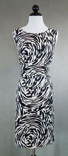 """CALVIN KLEIN Black and White Animal Abstract Print Stretch Cotton Dress 37"""" Bust #CalvinKlein #SheathDress #AnyOccasion"""