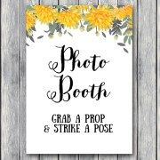 TH18-5×7-sign-photobooth-yellow-dandelion-wedding-bridal-shower-game