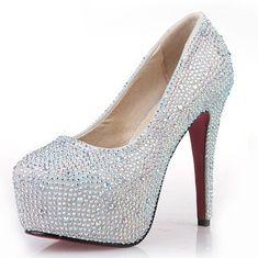 New Fashion 2013 Women's Silver Rhinestone Prom Pumps High Heel Crystal Brand Glitter Sparkly Platforms Silver Red Bottom 14cm US $19.90