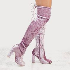 Psychedelic Essex GLam Pastel Pink Velvet Over The Knee Boots Coming Soon To essexshoes.co.uk  #morecoloursavailable
