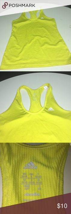 Lemon yellow Adidas workout top Climalite workout racer back top from Adidas.  Bright yellow color adidas Tops Muscle Tees