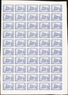 "20dr 1947 Dodecanese union in full sheet of 50, u/m. Var.""IMPERFORATE"". (Hellas 679a)."