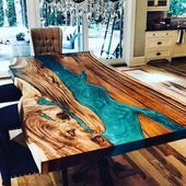 32 Awesome Resin Wood Table Design - For several reasons, resin furniture has become a popular alternative to wooden furniture created for outdoor use. It looks similar to painted wood, b. Epoxy Wood Table, Wooden Tables, Diy Wood Table, Diy Resin River Table, Epoxy Table Top, Wood Slab Table, Resin Furniture, Home Furniture, Wooden Furniture