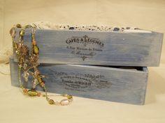 Decoupage krok po kroku bielone błękitne pudełko - pasta wybielająca