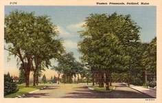 An old postcard from the Western Promenade in Portland, Maine