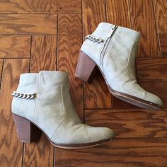 Sam Edelman Janna Boot Taupe Suade heeled booties from Circus by Sam Edelman with cute chain detail. Worn but in great condition!  Circus by Sam Edelman Shoes Ankle Boots & Booties
