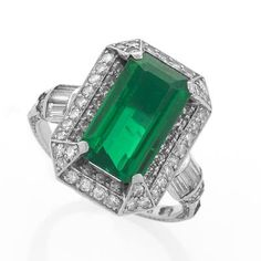 Art Deco Emerald, Diamond and Platinum Ring.  Available exclusively at Macklowe Gallery.