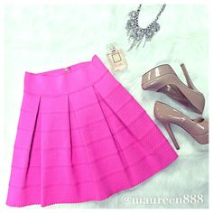 Hot Pink Empire Waist Skirt NWOT Fantastic and flattering Ginger G Empire Waist Skirt in a hot pink! Wardrobe staple for any day of the week. Size: S. Features: Gold Tone Hardware. Ginger G Skirts A-Line or Full