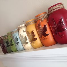 Chalky Finish for Fall! These mason jars from thepinkpineconestudio show off just some of our great colors perfect for all of your fall crafting and furniture projects! Easy Fall Crafts, Fall Crafts For Kids, Crafts To Make And Sell, Fall Diy, Diy Crafts, Fall Craft Fairs, Mason Jar Projects, Mason Jar Crafts, Bottle Crafts