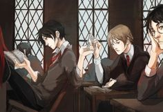"Marauders experiencing class boredom. In ""The Prisoner of Azkaban"" McGonagall describes James and Sirius as two of the most talented students she ever taught."