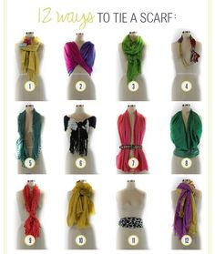 12 Ways to Tie a Scarf. Maybe my goal should be to wear a scarf everyday and tie it a different way.I have a scarf problem. Look Fashion, Diy Fashion, Ideias Fashion, Fashion Beauty, Travel Fashion, Fall Fashion, Fashion Shoes, Fashion Hacks, 1950s Fashion