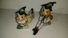 Vintage Lot of 2 Hand Painted Green Ceramic Elf Pixie Clown Hat Figurines