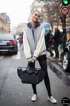 #TianYee having a varsity moment with her Celine #offduty in Paris.