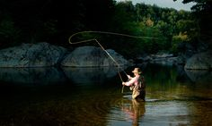 Fly fishing in Maine.