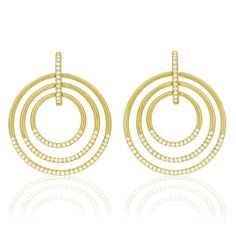 Retro gold hoops get a diamond-level upgrade to polish off any ensemble - Carelle Jewelry Large Moderne Circle Trio Earrings