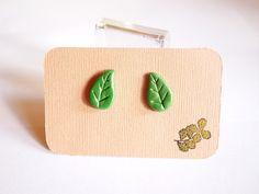 Green Leaf Nature Polymer Clay Stud Earrings. £3.50, via Etsy.