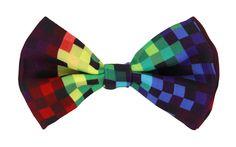 Pixel 8-Bit Adult Costume Rainbow Bow Tie