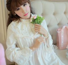 Cotton nightgown Princess Autumn and winter bedgown for women $71.15 => Save up to 60% and Free Shipping => Order Now! #fashion #woman #shop #diy www.homeclothes.n...