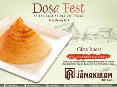 "Get ready to enjoy our ""DOSA FEST"" with your loved ones!! Here is an Crispy #Ghee_Roast  & you can explore more at #SrijanakiramHotels  which makes you feel yummy. Enjoy 50 DOSA VARIETIES #Rooftop  Restaurant from 24th to 27th July. #DosaFestival #DosaFest #DosaVarieties #FoodMela"
