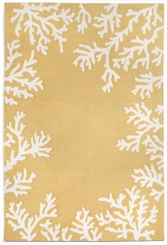 Warm color and coastal fun for indoor or outdoor! Coral Bordered Yellow Area Rug