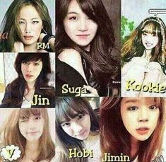 bts as girls ... they're all so pretty ...
