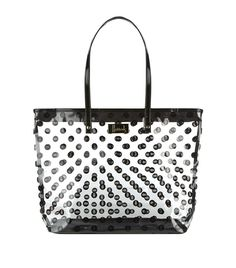Harrods Large Logo Spot Clear Bag Black