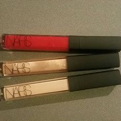 Nars lip gloss  3 piece bundle Brand be never used   Red- holly Woodlawn  Gold -  gold digger  Nude- spring break   Sold separately for $18 each  Retail is $26 each NARS Makeup Lip Balm & Gloss