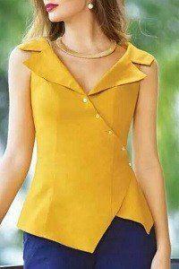 Prefer this to waist, not longer. blusa y pantalon, blusa mostaza, color Blouse Styles, Blouse Designs, Dress Designs, Indian Designer Wear, Mode Style, African Fashion, Blouses For Women, Designer Dresses, Fashion Dresses