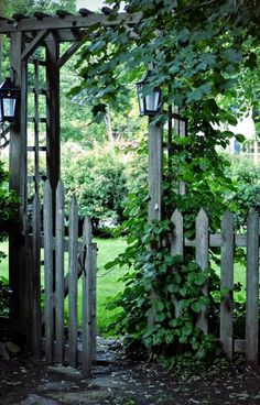 The wooden pergola is a good solution to add beauty to your garden. If you are not ready to spend thousands of dollars for building a cozy pergola then you may devise new strategies of trying out something different so that you can re Garden Gates And Fencing, Garden Arbor, Garden Landscaping, Fence Gate, Arbor Gate, Picket Gate, Gates Driveway, Garden Bridge, Landscaping Ideas