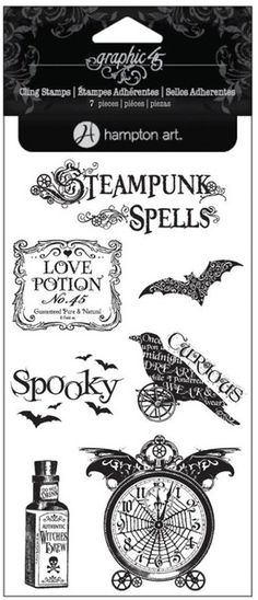 Graphic 45 - Hampton Art - Steampunk Spells Collection - Clear Acrylic Stamps - Steampunk Spells - Four at Scrapbook.com