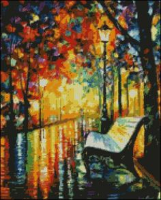 In The Park -  Counted Needle Point and Cross Stitch Chart Patterns. $18.00, via Etsy.