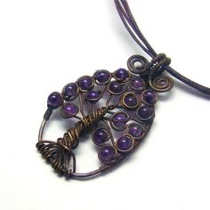 Amethyst Celtic Tree of Life Pendant Necklace by AnnaWireJewelry, $32.99