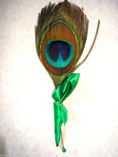 WEDDING FLOWERS, PEACOCK FEATHER BUTTONHOLE - ANY COLOUR RIBBON