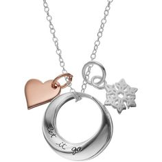 Disney's Frozen Sterling Silver Two Tone Snowflake & Heart Charm... ($60) ❤ liked on Polyvore featuring jewelry, silver, sterling silver heart jewelry, sterling silver snowflake pendant, heart pendant necklace, pendant necklace and charm pendant necklace