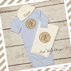 A personal favorite from my Etsy shop https://www.etsy.com/listing/285559763/monogrammed-blue-infant-gown-with