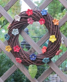 Willow Wrench with ceramic flowers Ceramic Flowers, Grapevine Wreath, Grape Vines, Wreaths, Rose, Totems, Walls, Decor, Gardens