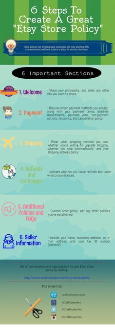 6 Steps To Create A Great Etsy Store Policy With Free Template Download!  www.craftmakerpro...