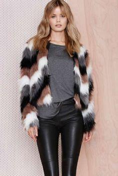 Color Coating Faux Fur Jacket   Spot it Pop it