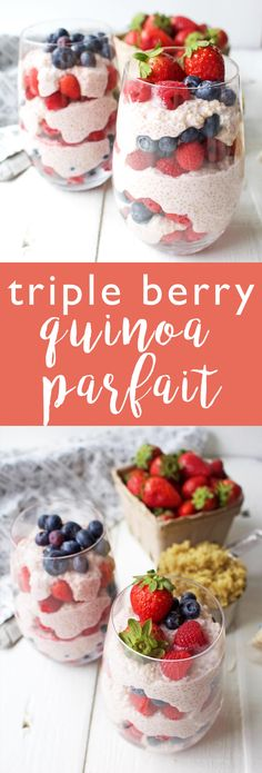 Triple Berry Quinoa Parfait - A healthy vegan breakfast idea! You can prep this head of time. BobsQuinoa - AD via @thecrunchychron