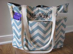 Large Chevron Teacher Bag Deluxe Monogrammed, REVERSIBLE, Chevron Beach Bag