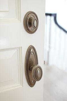 Update Doorknobs - Reinvent your entry or interior doors with antiqued brass, crystal, porcelain, or colored-glass doorknobs. Door Knobs, Door Handles, Door Knockers, Grades, Starter Home, Up House, Home Hardware, Cabinet Hardware, Traditional House
