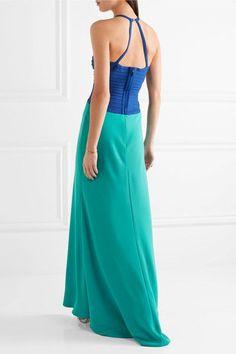 Hervé Léger - Cutout Two-tone Bandage-paneled Crepe Gown - Bright blue -