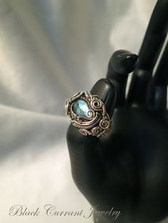 Labradorite Size 6.5 US Sterling Silver Woven Ring - Heady Wirewrapping, Oxidized Silver