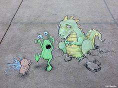 Chalk Street Art – 30 adorable creations by David Zinn