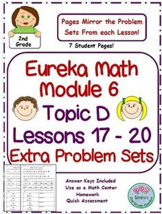 More+practice!+Each+Problem+set+from+Eureka+Math+module+6+is+labeled+with+the+lesson+number+and+answer+pages+are+included+in+download.Use+as+a+Math+Center,+homework,+or+a+quick+assessment.Common+Core+aligned.