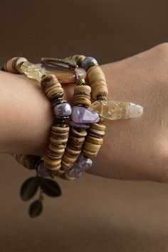Violet Moon bracelet with natural stones от TaigaTheBorealForest