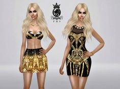 Golden Collection dress, bra & skirt at Fashion Royalty Sims via Sims 4 Updates